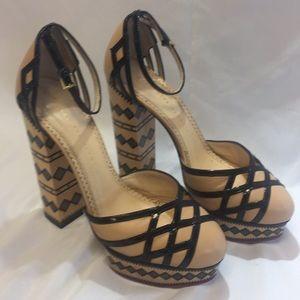 Charlotte Olympia Painted Wood Platform Heels